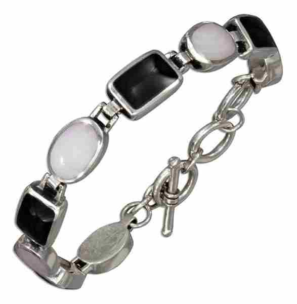 Black Onyx Mother Of Pearl Toggle Bracelet