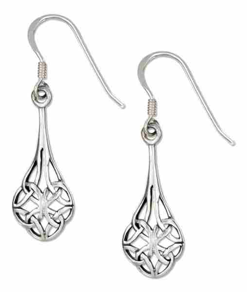 "7/8"" Teardrop Shape Scrolled Design Celtic Knot Dangle Earrings"