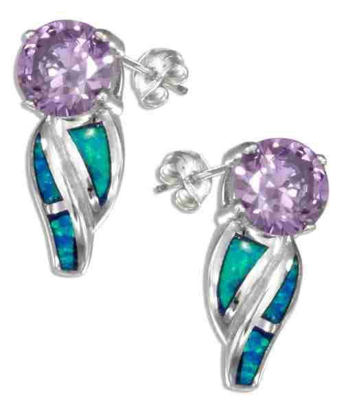 Round Imitation Amethyst Post Earrings Imitation Blue Opal Swoos