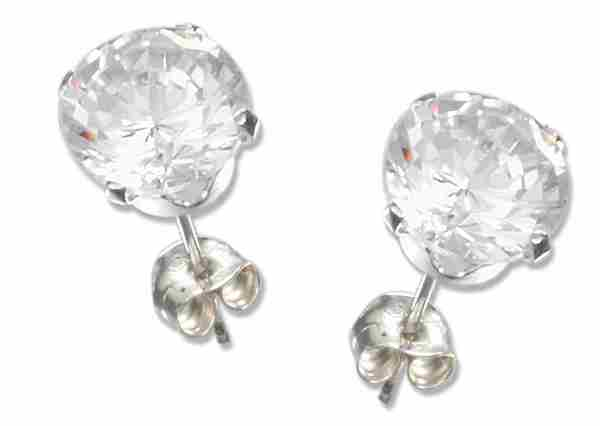 7mm Diameter Round Clear Cubic Zirconia Stud Post Earrings