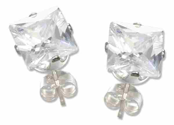 7mm Wide Square Cubic Zirconia Stud Earrings