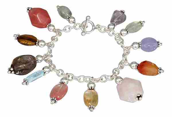 Polished Stones On Open Link Charm Toggle Bracelet