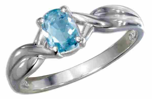 Solitaire Oval Blue Topaz Ring