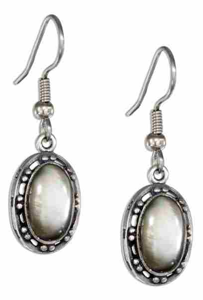 Oval Gray Shell Earrings Open Beaded Border