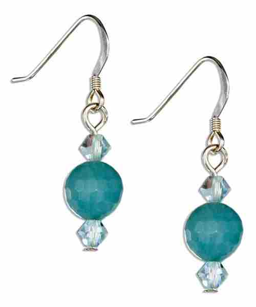 Faceted Amazonite Ball Earrings Austrian Crystals