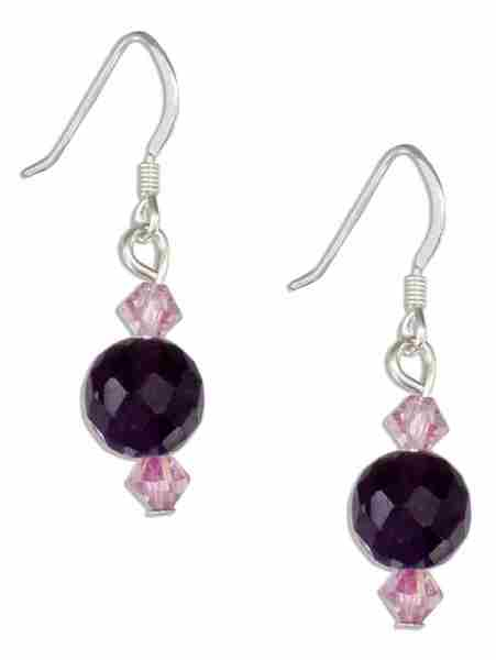 Faceted Amethyst Ball Earrings Purple Austrian Crystals