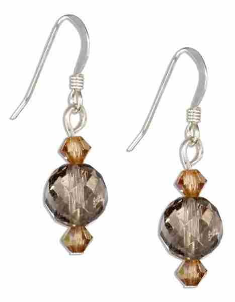 Faceted Smoky Quartz Ball Earrings Smoky Austrian Crystals
