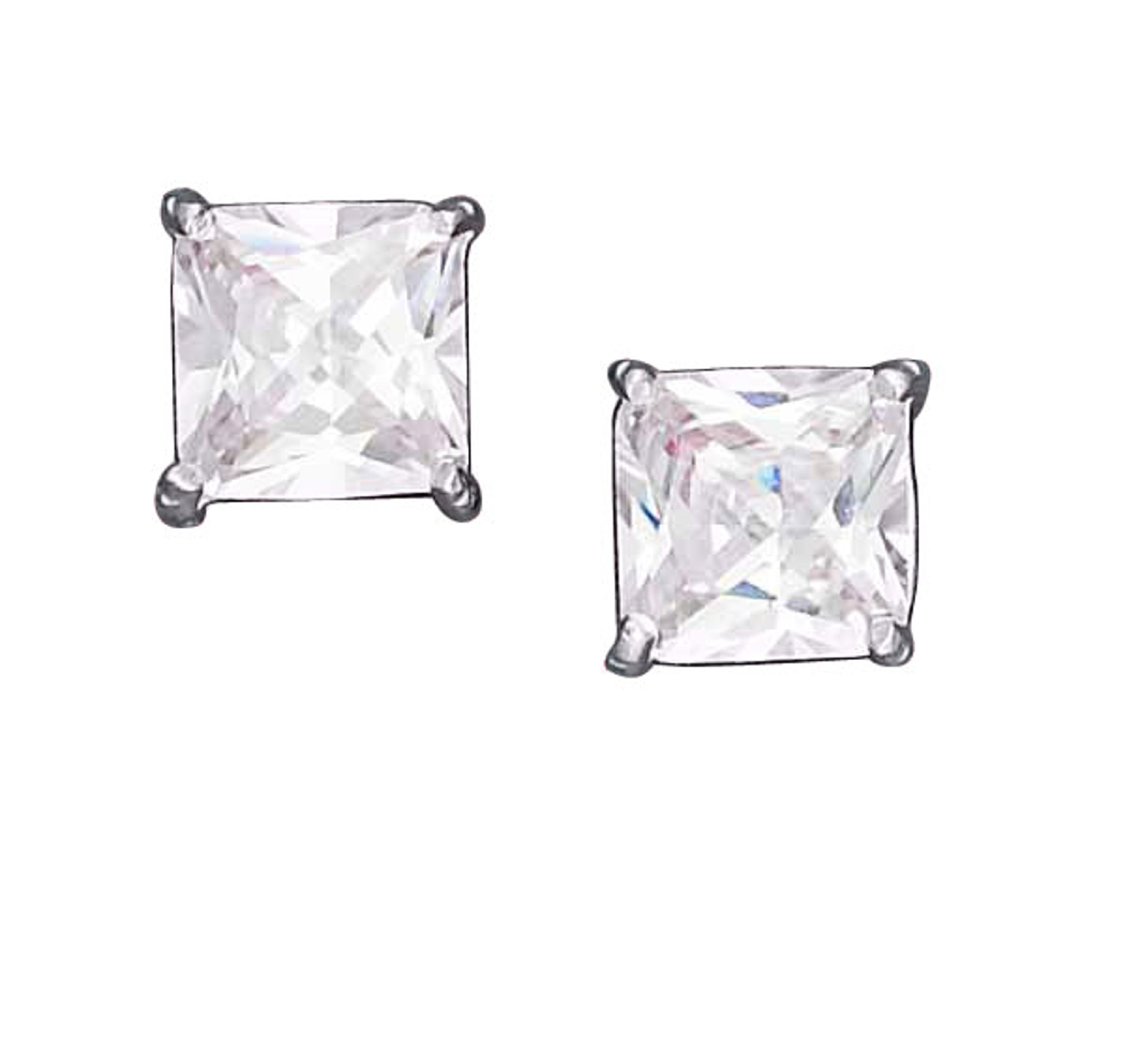 Square Princess Cut Cubic Zirconia Stud Earrings