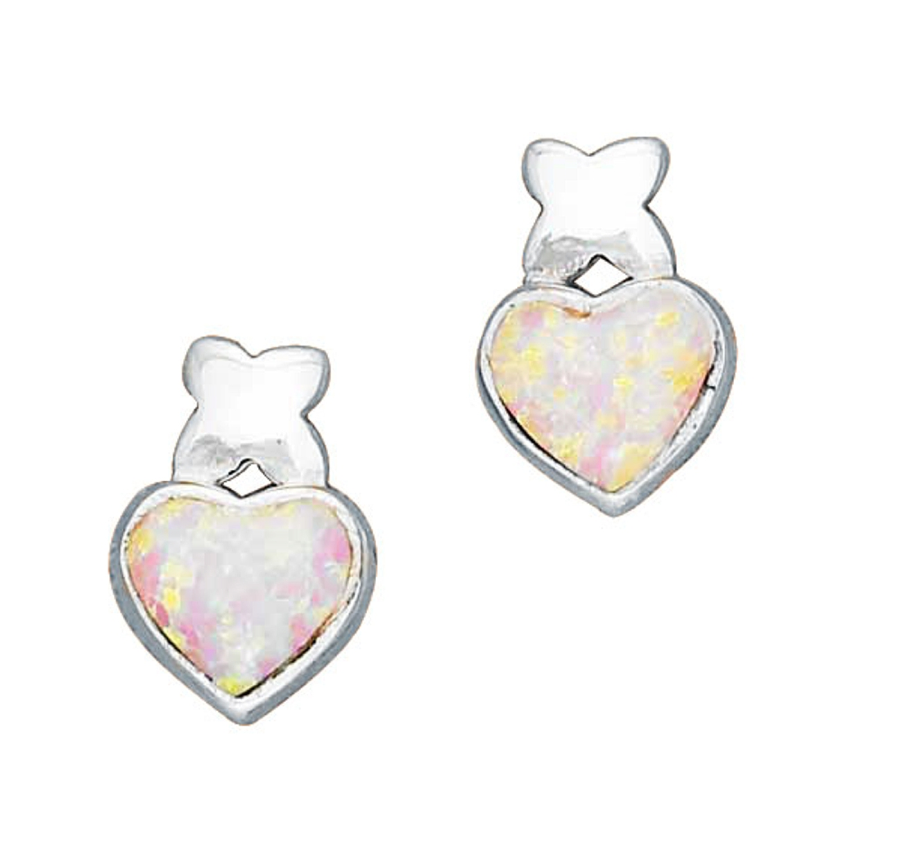 Imitation Pink Opal Heart Kiss Post Earrings