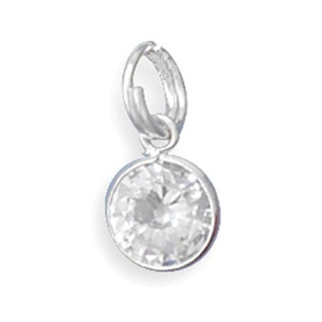 8mm Clear Round Cubic Zirconia Sparkly Charm