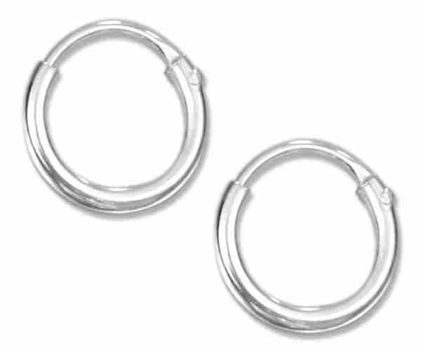 8mm Diameter Tiny Endless Wire Hoop Earrings