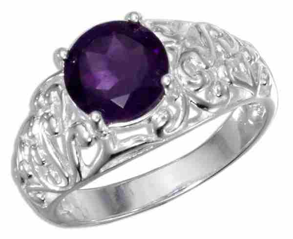 Filigree Round Amethyst Solitaire Ring