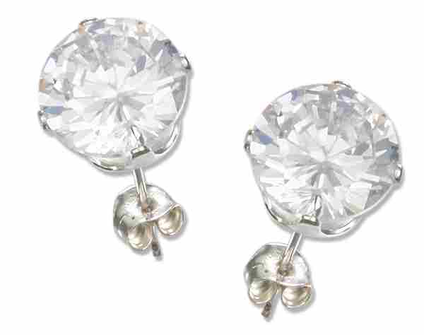 8mm Diameter Round Clear Cubic Zirconia Stud Post Earrings