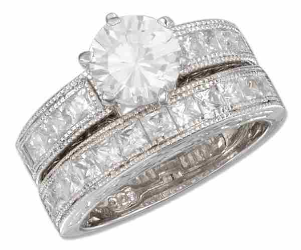 Princess Cut Cubic Zirconia Beaded Ring