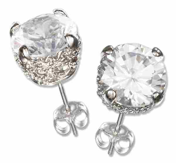 Faceted Cubic Zirconia Stud Earrings Basket Setting