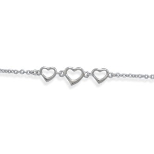 "9"" To 10"" Adjustable Rhodium Plated Heart Ankle Bracelet Anklet"