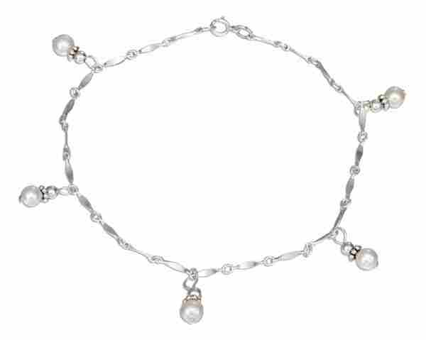 "8.5"" Petite Freshwater Pearl Dangle Ankle Bracelet"