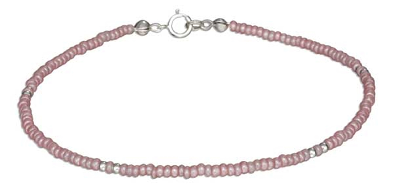 "9"" Beaded Ankle Bracelet Pink Pony Beads"