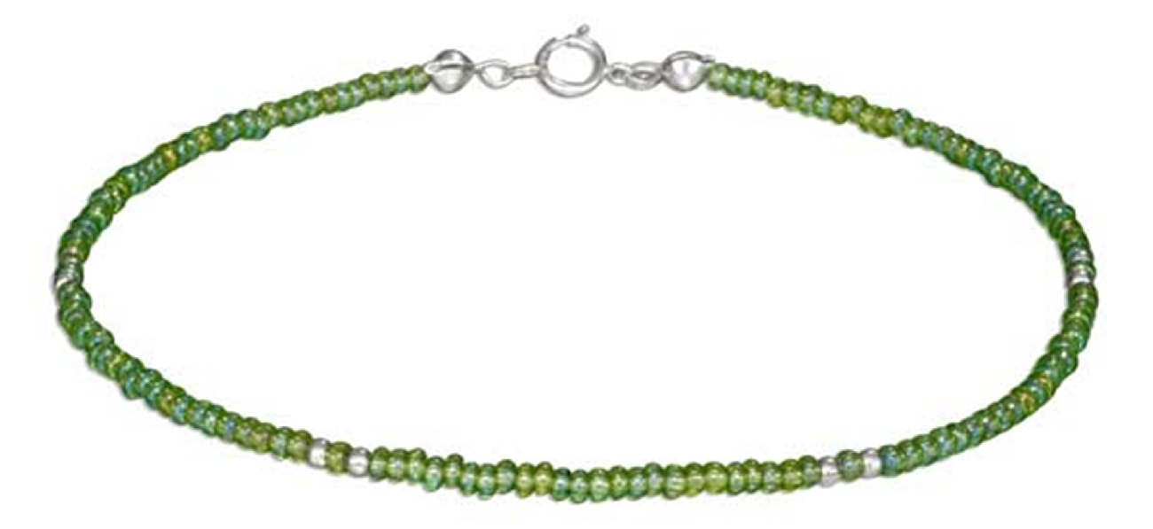 "9"" Beaded Ankle Bracelet Translucent Green Pony Beads"