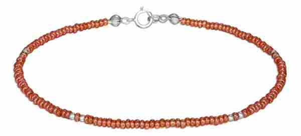 "9"" Beaded Ankle Bracelet Orange Pony Beads"
