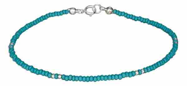 "9"" Beaded Ankle Bracelet Turquoise Colored Blue Green Pony Beads"