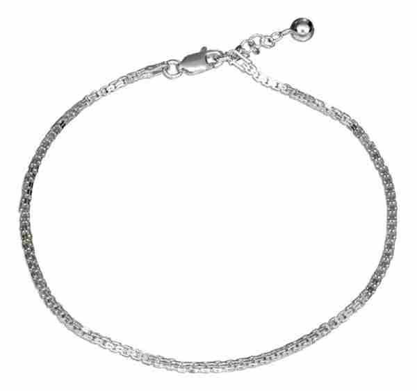 "9"" To 10"" Adjustable Double Box Anklet Ankle Bracelet"
