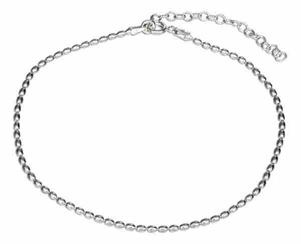 "9"" To 10"" Adjustable 1.5mm Oval Bead Ankle Bracelet"