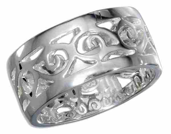 Unisex Scrolled Filigree Ring