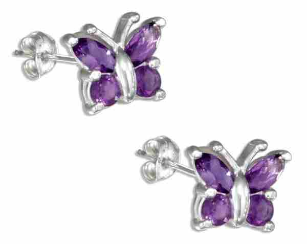 Genuine Amethyst Butterfly Earrings