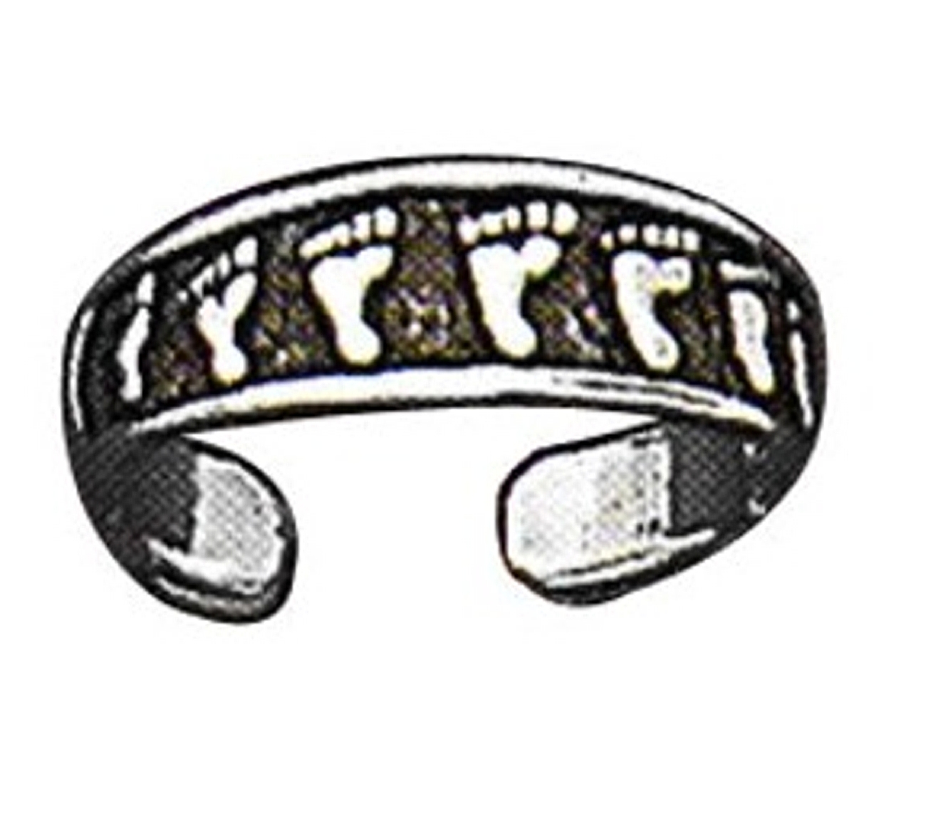 Sterling Silver Men's Adjustable Beach Foot Prints Toe Ring