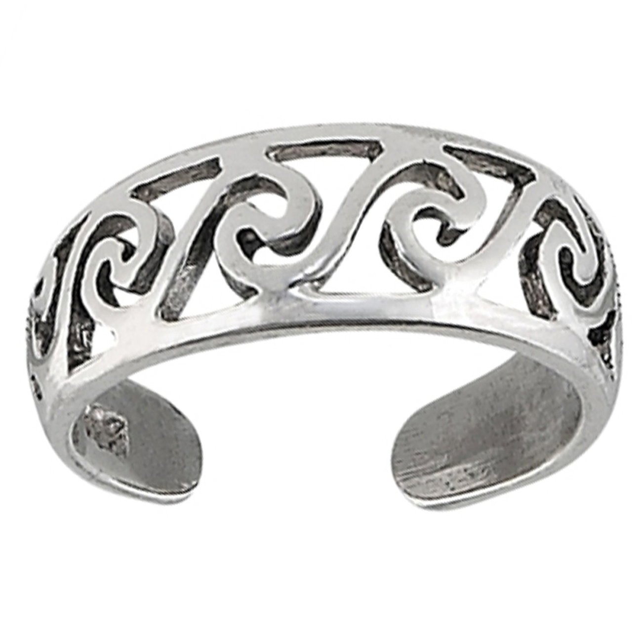 Sterling Silver Men's Wide Band Beach Ocean Waves Adjustable Toe Ring
