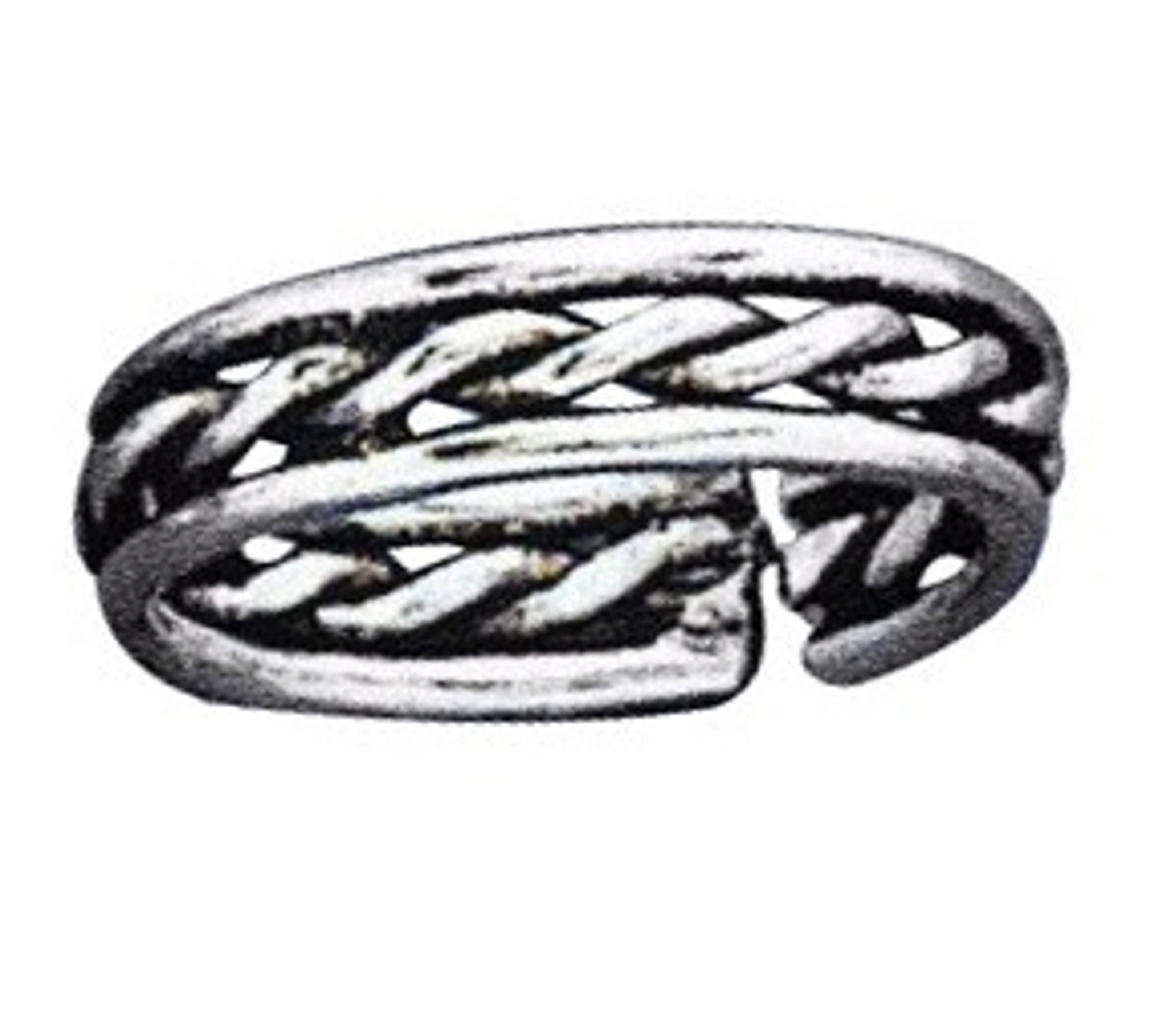 Sterling Silver Men's Centered Twisted Wire Adjustable Toe Ring