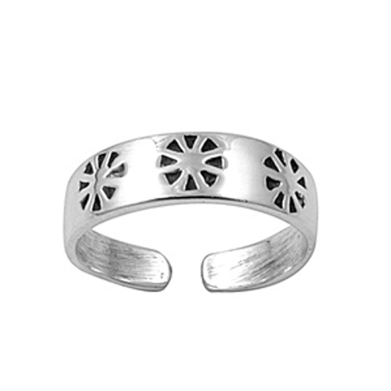 Cut Out Flower Or Sunburst Adjustable Toe Ring