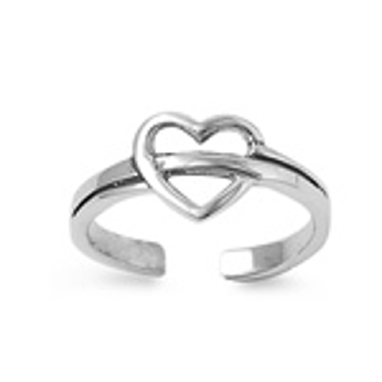 Band Through Heart Adjustable Toe Ring