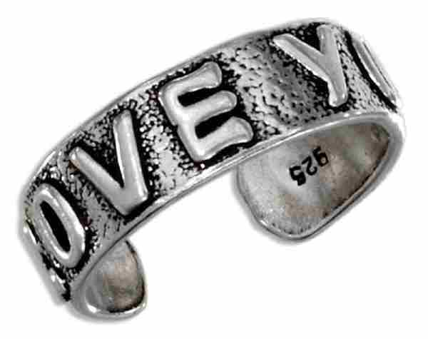 Adjustable LOVE YOU Word Message Toe Ring