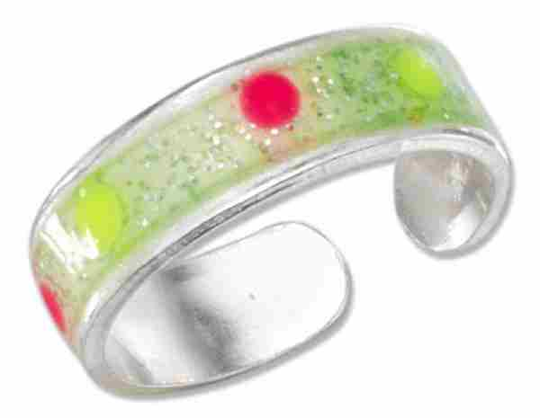 Adjustable Yellow Pink Dots Glittery Yellow Green Band Toe Ring