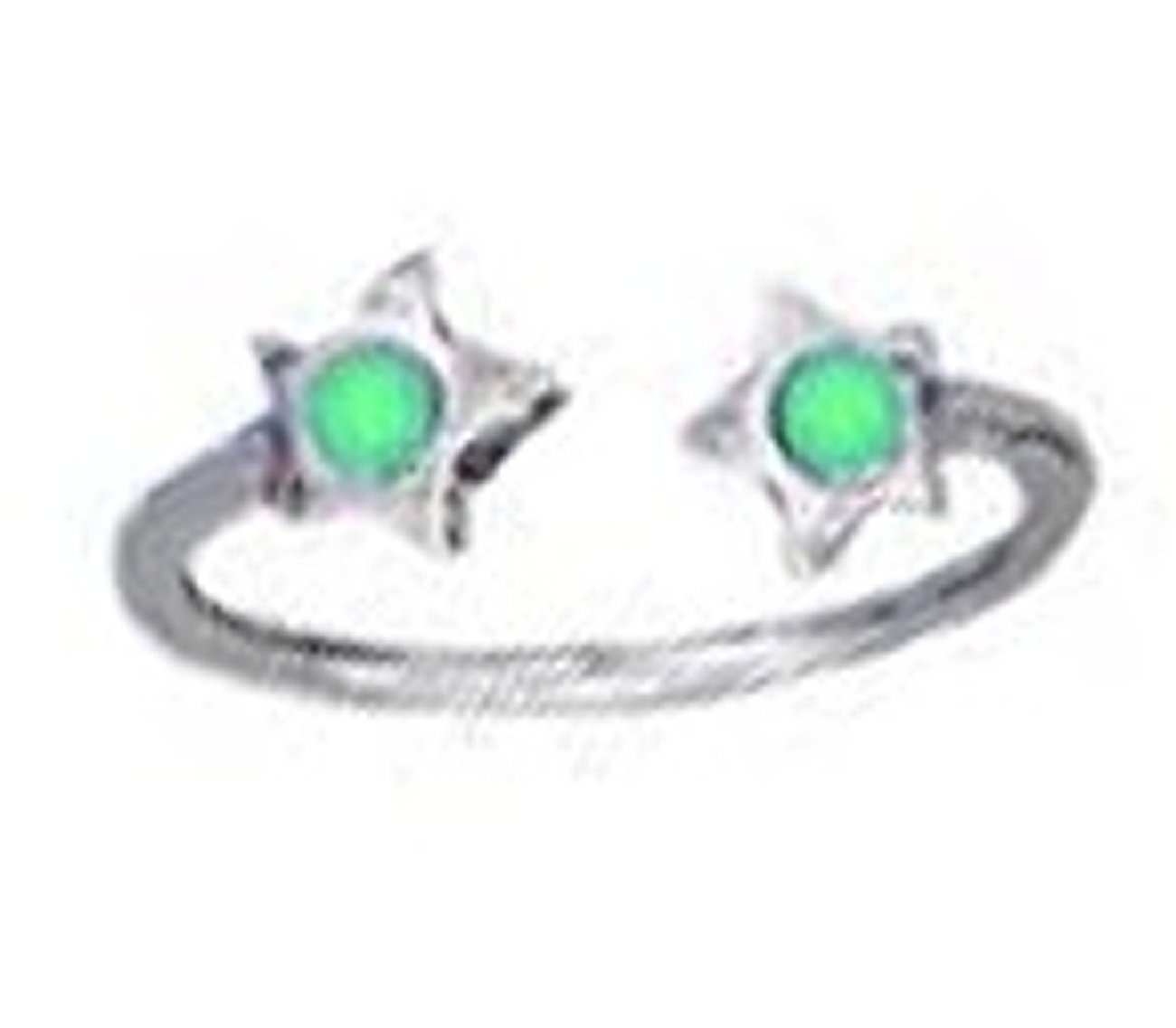Green Crystal Star Ends Bypass Wrap Toe Ring