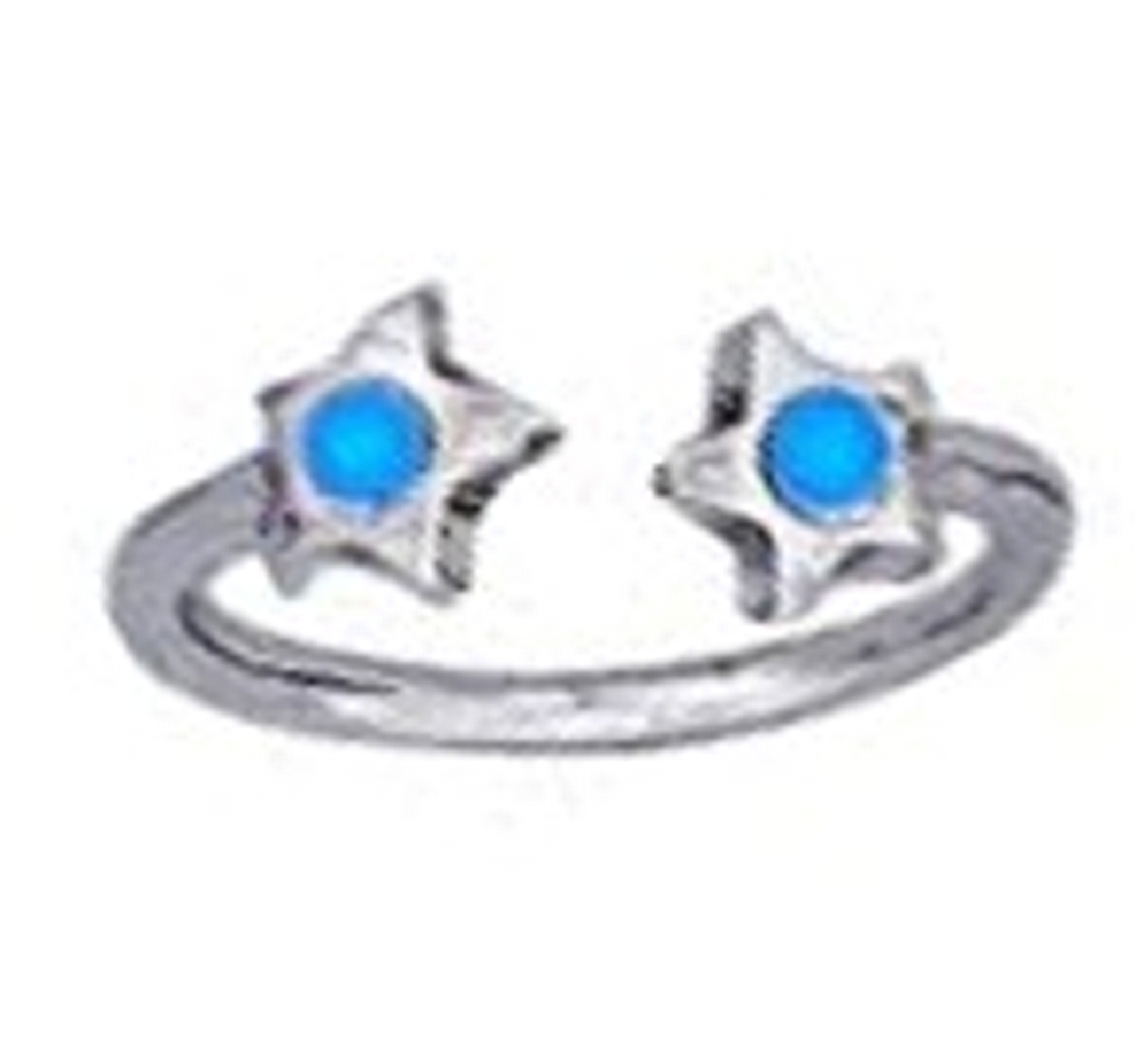 Light Blue Crystal Star Ends Bypass Wrap Toe Ring