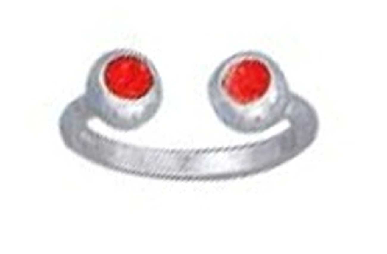 Red Crystal Ball Ends Bypass Wrap Toe Ring