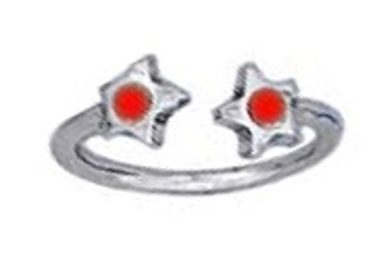 Red Crystal Star Ends Bypass Wrap Toe Ring