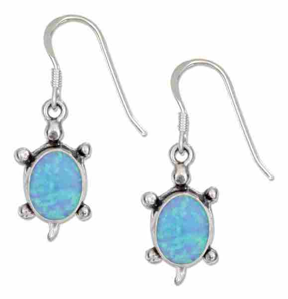 Imitation Blue Opal Turtle Dangle Earrings