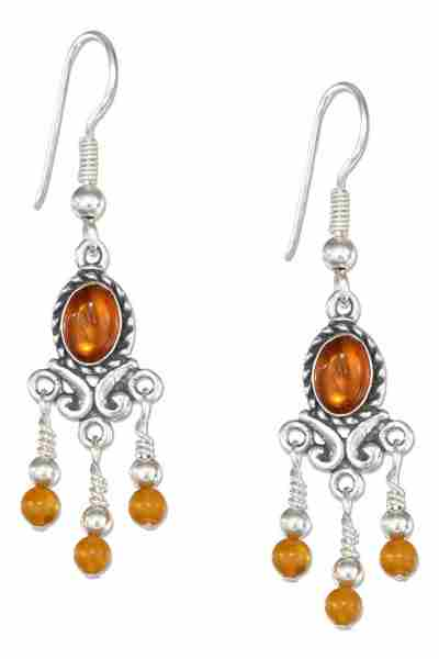 Honey Cognac Amber Chandelier Earrings