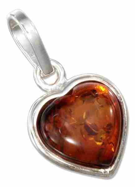 Honey Cognac Amber Heart Pendant
