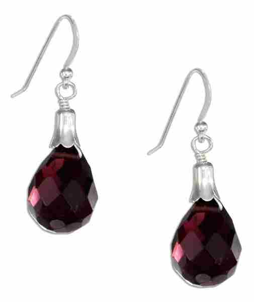 Amethyst Briolette Teardrop Dangle Earrings