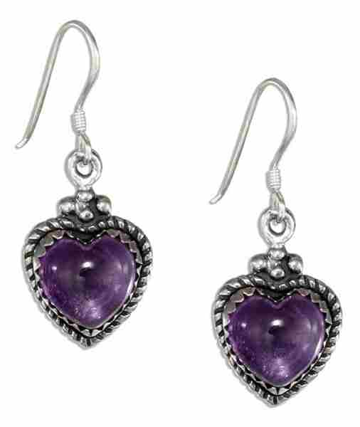 Amethyst Heart Roped Setting Dangle Earrings