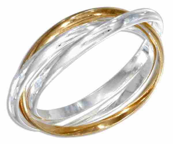Three Band Gold Vermeil Rolling Ring Or Russian Wedding Ring