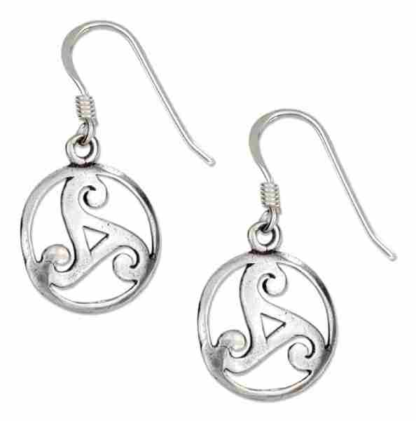 "Antiqued 1/2"" Round Celtic Knot Scrolled Design Dangle Earrings"