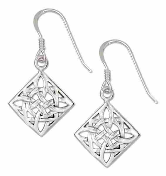 "Antiqued 1/2"" Square Celtic Scrolled Design Dangle Earrings"