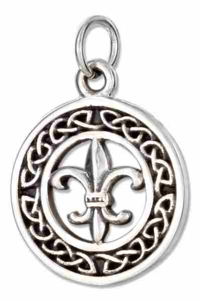 Antiqued 15mm Round Celtic Wreath Charm Fleur De Lis In Center