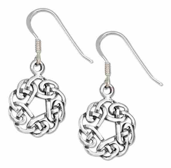 "Antiqued 5/8"" Round Celtic Knot Design Dangle Earrings"